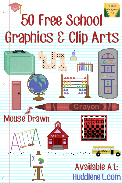 50 Free School Graphics and Clip Arts by Huddlenet.com | #School #Clipart #Graphics