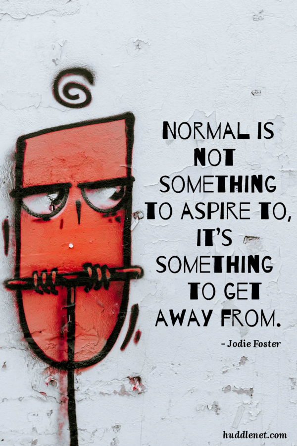 Inspiration | JODIE FOSTER | Normal is not something to aspire to, it's something to get away from. | www.huddlenet.com