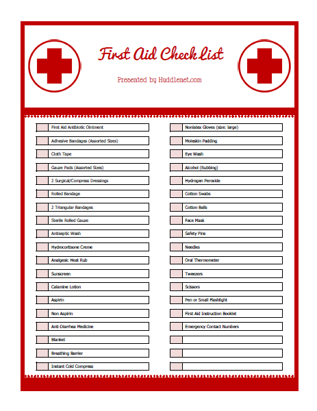 It S Summertime First Aid Kit Supply List Amp Printable Huddlenet