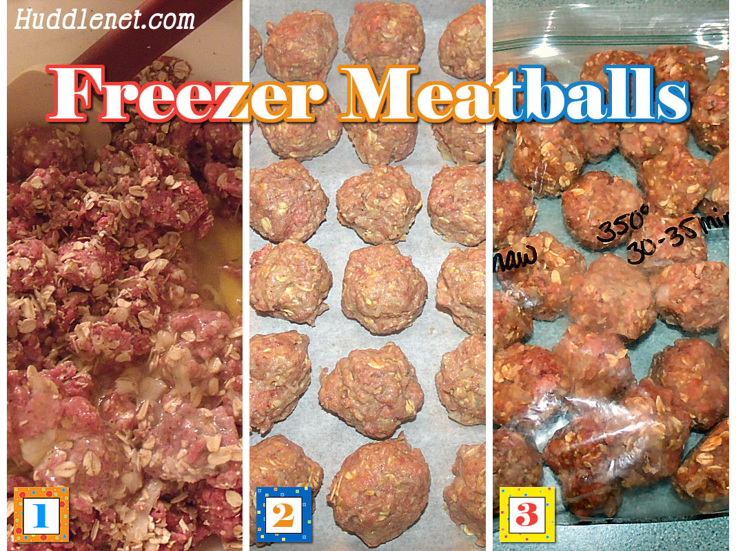 Make-Ahead Freezer Meatballs are perfect for a variety of different recipes. Recipe makes about 100 meatballs.