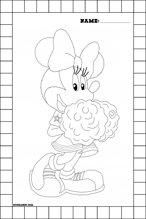 Dallas Cowboys Minnie Mouse Cheerleader - Coloring Page | www.huddlenet.com