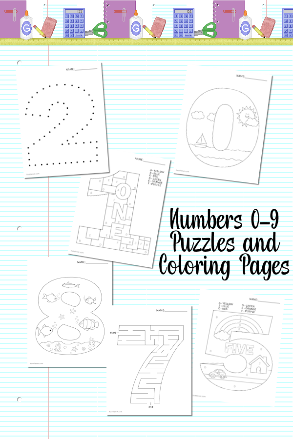 Numbers 0-9 - Free Coloring & Puzzle Pages #coloring #puzzles #numbers | www.huddlenet.com