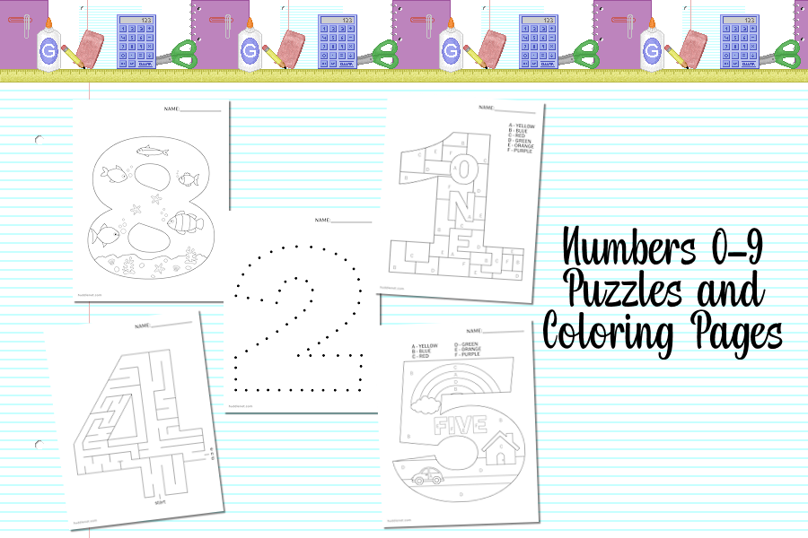 Numbers 0-9 Free Coloring & Puzzle Pages | www.huddlenet.com