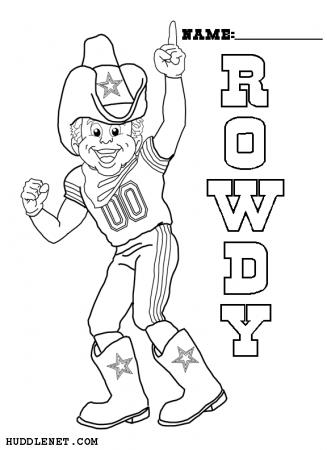 Rowdy - Dallas Cowboys - Coloring Page | www.huddlenet.com