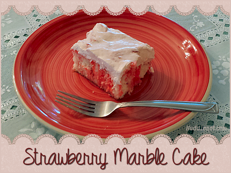 Strawberry Marble Cake is a moist, easy cake to make that tastes like a little bit of strawberry heaven! | #Strawberries #Cake #Easy #Dessert #Recipes | http://huddlenet.com