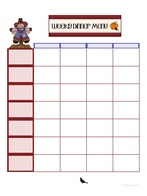 Printable Menus One Week Menu Scarecrow Themed #PrintableMenu #Printable | Huddlenet.com