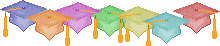Graduation caps line school clipart