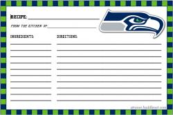 Seattle Seahawks Recipe Cards
