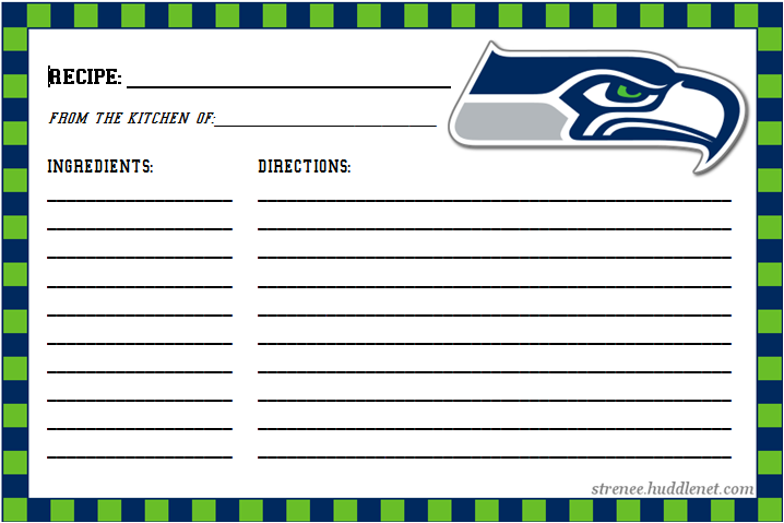 Seattle Seahawks Recipe Cards
